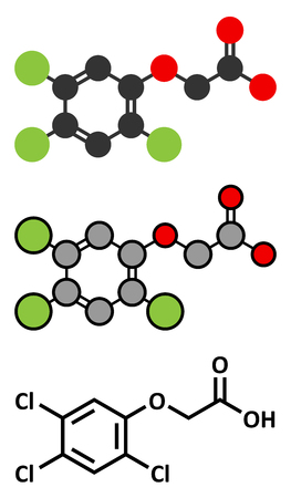 acetic: 2,4,5-trichlorophenoxyacetic acid (2,4,5-T) herbicide molecule. Ingredient of Agent Orange. Stylized 2D renderings and conventional skeletal formula.