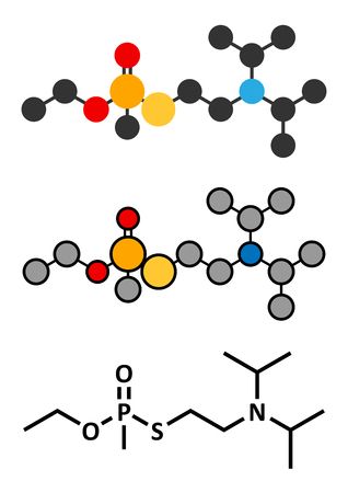 acetylcholinesterase: VX nerve agent molecule (chemical weapon). Stylized 2D renderings and conventional skeletal formula.