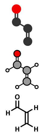 Acrolein (propenal) molecule. Toxic molecule that is formed when fat or oil is heated and is present in e.g. french fries. Stylized 2D renderings and conventional skeletal formula.