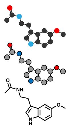 pineal: Melatonin hormone molecule. In humans, it plays a role in circadian rhythm synchronization. Stylized 2D renderings and conventional skeletal formula.