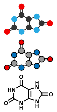 purine: Uric acid molecule. High blood levels lead to gout disease. Stylized 2D renderings and conventional skeletal formula.