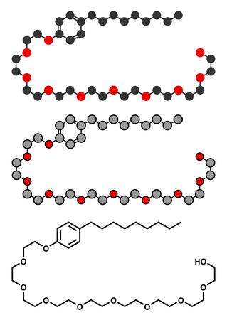 vaginal: Nonoxynol-9 spermicide molecule. Stylized 2D renderings and conventional skeletal formula.