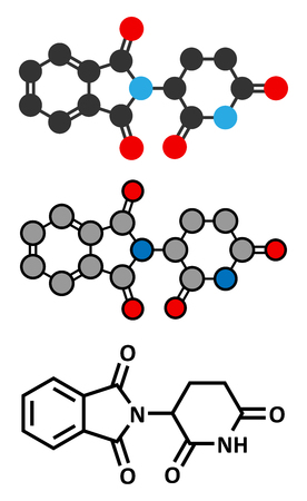atomic: Thalidomide theratogenic drug molecule. Initially used as antiemetic to treat morning sickness in pregnant women but found to cause serious birth defects. Still used in treatment of multiple myeloma. Stylized 2D renderings and conventional skeletal formul