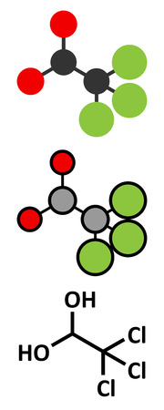 Chloral hydrate sedative and hypnotic drug molecule. Stylized 2D renderings and conventional skeletal formula.