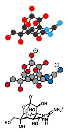 Tetrodotoxin (TTX) pufferfish neurotoxin molecule. Stylized 2D renderings and conventional skeletal formula.
