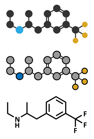 fibrosis: Fenfluramine weight loss drug molecule (withdrawn). Stylized 2D renderings and conventional skeletal formula.
