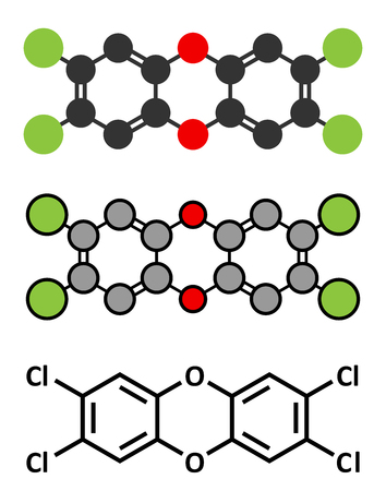 food poison: TCDD polychlorinated dibenzodioxin pollutant molecule (commonly called dioxin). Byproduct formed during incineration of chlorine-containing materials. Stylized 2D renderings and conventional skeletal formula.