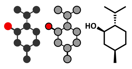 menthol: Menthol molecule. Present in peppermint, corn mints, etc. Stylized 2D renderings and conventional skeletal formula.