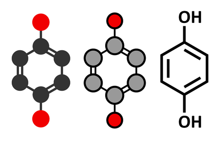 carcinogen: Hydroquinone reducing agent molecule. Used in development of photographic film. Stylized 2D renderings and conventional skeletal formula.