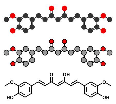 curcumin: Curcumin turmeric spice molecule. Stylized 2D renderings and conventional skeletal formula. Illustration
