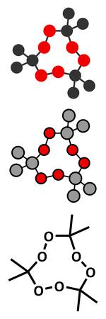 peroxide: Triacetone triperoxide (TATP, acetone peroxide) explosive molecule. Stylized 2D renderings and conventional skeletal formula.