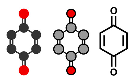 carcinogenic: Benzoquinone (quinone, para-benzoquinone) molecule. Stylized 2D renderings and conventional skeletal formula. Illustration
