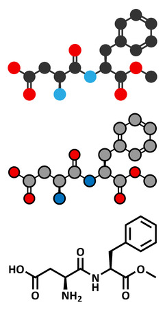 sweetener: Aspartame artificial sweetener molecule (sugar substitute). Stylized 2D renderings and conventional skeletal formula.
