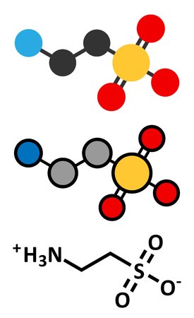 supplementation: Taurine (2-aminoethanesulfonic acid) molecule. Common ingredient of energy drinks and nutritional supplements. Stylized 2D renderings and conventional skeletal formula. Illustration
