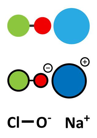 L'hypochlorite de sodium (NaOCl) de la molécule. Solution aqueuse est connu sous le nom (liquide) l'eau de Javel. rendus 2D stylisées et formule squelettique conventionnelle.