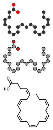 Docosahexaenoic acid (DHA, cervonic acid) molecule. Polyunsaturated omega-3 fatty acid present in fish oil. Stylized 2D renderings and conventional skeletal formula.