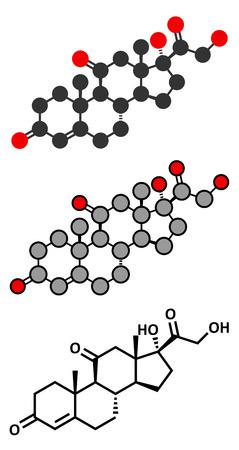 hormone: Cortisone stress hormone molecule. Stylized 2D renderings and conventional skeletal formula.