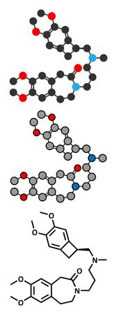 angina: angina pectoris ivabradina molécula del fármaco. Vectores