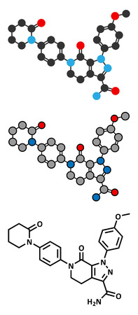 factor: Apixaban anticoagulant drug molecule (direct FXa inhibitor).