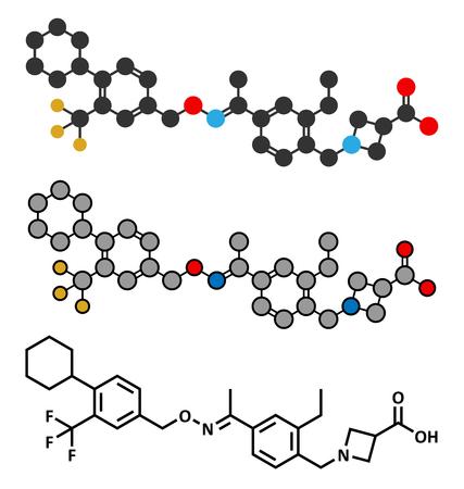 phosphate: Siponimod anti-inflammatory drug molecule (S1PR1 modulator). Illustration