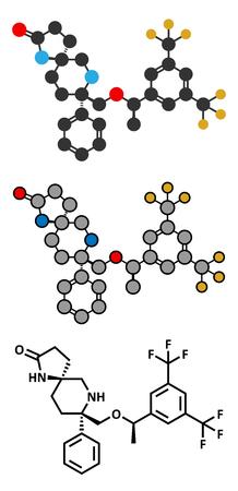 nausea: Rolapitant antiemetic drug molecule. Illustration