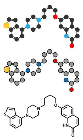 adhd: Brexpiprazole antipsychotic drug molecule.
