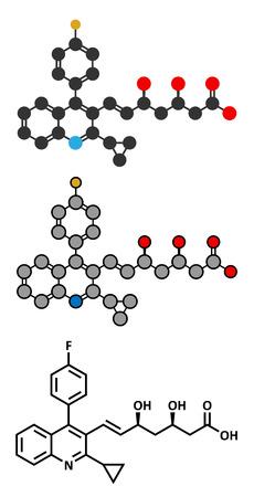 fluorine: Pitavastatin hypercholesterolemia drug molecule.