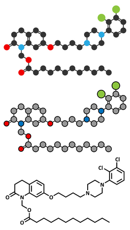 Aripiprazole lauroxil antipsychotic drug molecule (injectable extended release form).. Stock Illustratie