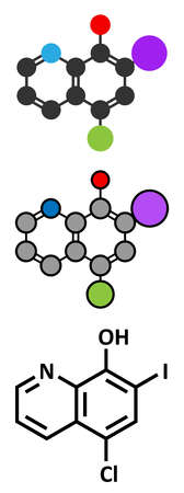 neuropathy: Clioquinol (iodochlorhydroxyquin) antifungal and antiprotozoal drug molecule.