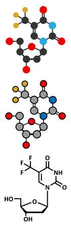 tft: Trifluridine (trifluorothymidine, TFT) antiviral drug molecule. Illustration
