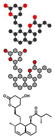 inhibitor: Mevastatin hypercholesterolemia drug molecule.