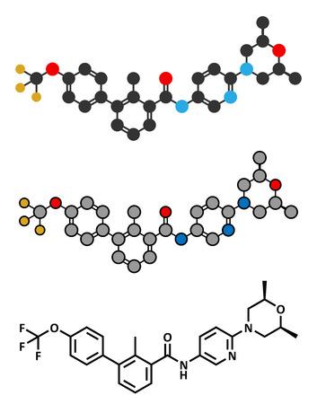animal cell: Sonidegib cancer drug molecule.