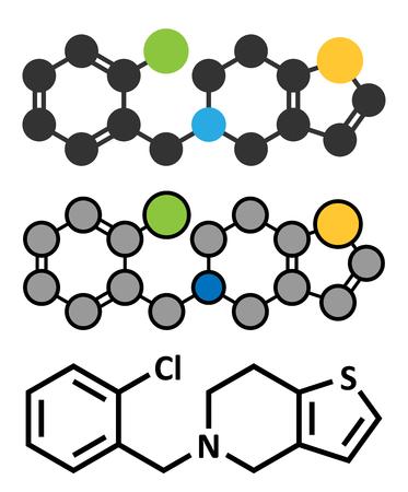 Ticlopidine antiplatelet drug molecule.