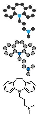 antidepressant: Imipramine antidepressant drug molecule.