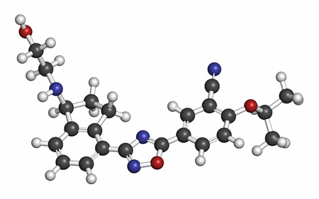 Ozanimod anti-inflammatory drug molecule (S1PR1 modulator). Atoms are represented as spheres with conventional color coding: hydrogen (white), carbon (grey), oxygen (red), nitrogen (blue). Stock Photo