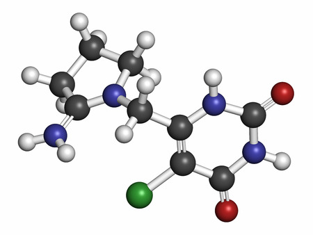 generic drugs: Tipiracil cancer drug molecule (thymidine phosphorylase inhibitor). Atoms are represented as spheres with conventional color coding: hydrogen (white), carbon (grey), oxygen (red), nitrogen (blue), chlorine (green).