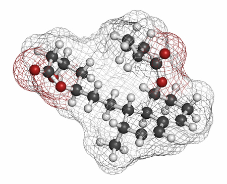 penicillium: Mevastatin hypercholesterolemia drug molecule. Atoms are represented as spheres with conventional color coding: hydrogen (white), carbon (grey), oxygen (red), nitrogen (blue).