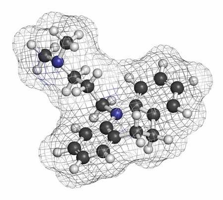 hidrogeno: Mol�cula de f�rmaco antidepresivo imipramina. Los �tomos se representan como esferas con codificaci�n de colores convencionales: hidr�geno (blanco), carb�n (gris), nitr�geno (azul).
