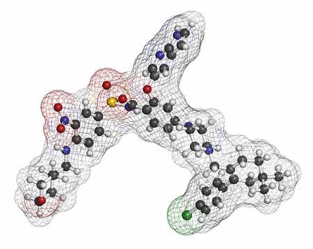 hidr�geno: Mol�cula de medicamento contra el c�ncer Venetoclax (BCL-2 inhibidor). Los �tomos se representan como esferas con codificaci�n de colores convencionales: hidr�geno (blanco), carb�n (gris), ox�geno (rojo), nitr�geno (azul), cloro (verde), azufre (amarillo).