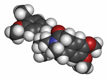 generic drugs: Ivabradine angina pectoris drug molecule. Atoms are represented as spheres with conventional color coding: hydrogen (white), carbon (grey), oxygen (red), nitrogen (blue).