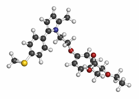 dual: Saroglitazar diabetes drug molecule (dual PPAR agonist). Atoms are represented as spheres with conventional color coding: hydrogen (white), carbon (grey), oxygen (red), nitrogen (blue), sulfur (yellow).