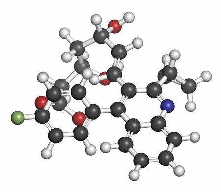 fluorine: Pitavastatin hypercholesterolemia drug molecule. Atoms are represented as spheres with conventional color coding: hydrogen (white), carbon (grey), oxygen (red), nitrogen (blue), fluorine (light green).