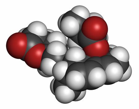 hidrogeno: Mevastatina mol�cula de f�rmaco hipercolesterolemia. Los �tomos se representan como esferas con codificaci�n de colores convencionales: hidr�geno (blanco), carb�n (gris), ox�geno (rojo), nitr�geno (azul). Foto de archivo