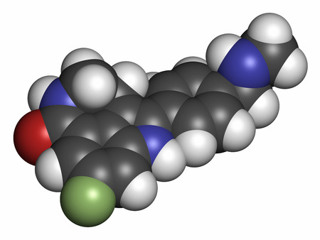 inhibitor: Rucaparib cancer drug molecule (PARP inhibitor). Atoms are represented as spheres with conventional color coding: hydrogen (white), carbon (grey), oxygen (red), nitrogen (blue), fluorine (light green).