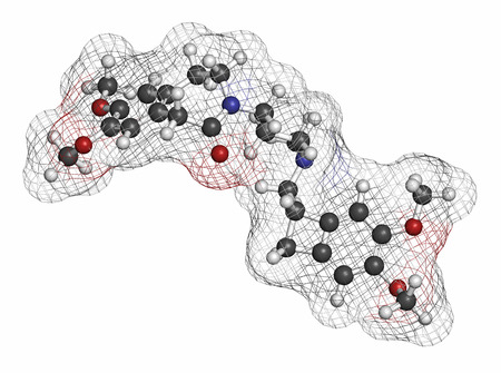 tachycardia: Ivabradine angina pectoris drug molecule. Atoms are represented as spheres with conventional color coding: hydrogen (white), carbon (grey), oxygen (red), nitrogen (blue).