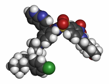 nitrogen: Venetoclax cancer drug molecule (BCL-2 inhibitor). Atoms are represented as spheres with conventional color coding: hydrogen (white), carbon (grey), oxygen (red), nitrogen (blue), chlorine (green), sulfur (yellow). Stock Photo