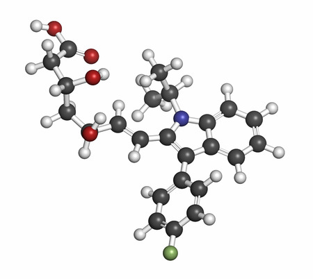 fluorine: Fluvastatin hypercholesterolemia drug molecule. Atoms are represented as spheres with conventional color coding: hydrogen (white), carbon (grey), oxygen (red), nitrogen (blue), fluorine (light green).