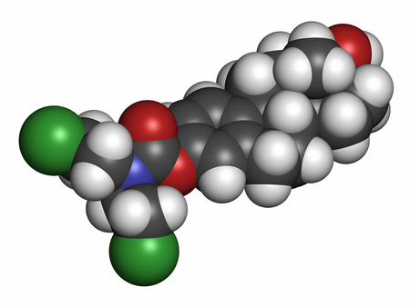chemotherapy drug: Estramustine prostate cancer chemotherapy drug molecule. Atoms are represented as spheres with conventional color coding: hydrogen (white), carbon (grey), nitrogen (blue), chlorine (green).