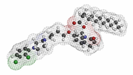 manic: Aripiprazole lauroxil antipsychotic drug molecule (injectable extended release form).. Atoms are represented as spheres with conventional color coding: hydrogen (white), carbon (grey), nitrogen (blue), oxygen (red), chlorine (green).