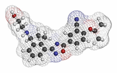 modulator: Ozanimod anti-inflammatory drug molecule (S1PR1 modulator). Atoms are represented as spheres with conventional color coding: hydrogen (white), carbon (grey), oxygen (red), nitrogen (blue). Stock Photo